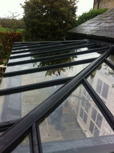 Glass roof after pure water window cleaning - Yeovil