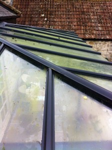 Glass roof before pure water window cleaning - Yeovil
