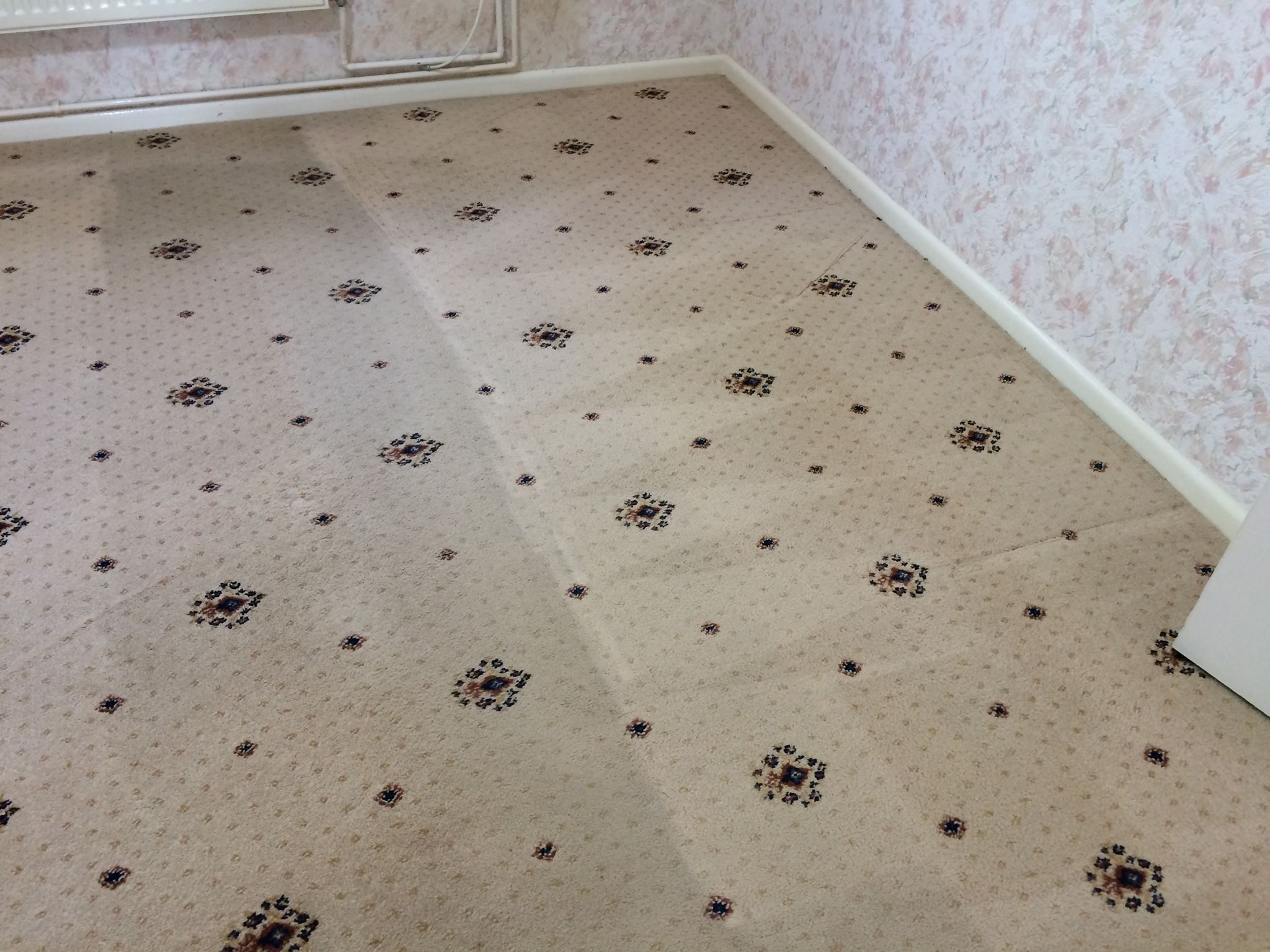 Patterned carpet cleaning