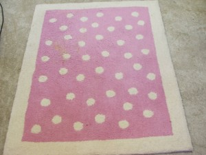 Pink rug with vomit stain